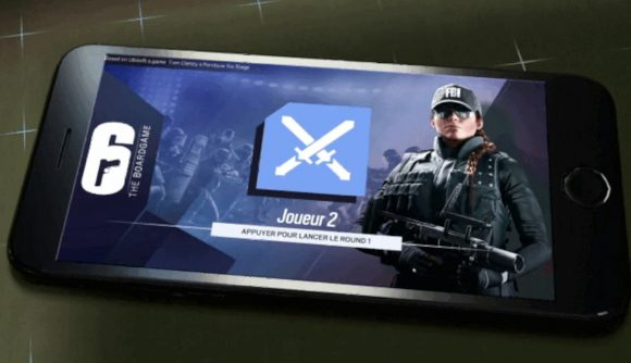 The Rainbow Six Siege board game phone app showing an armed operator