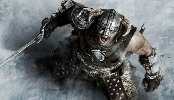 A character from Skyrim shouting