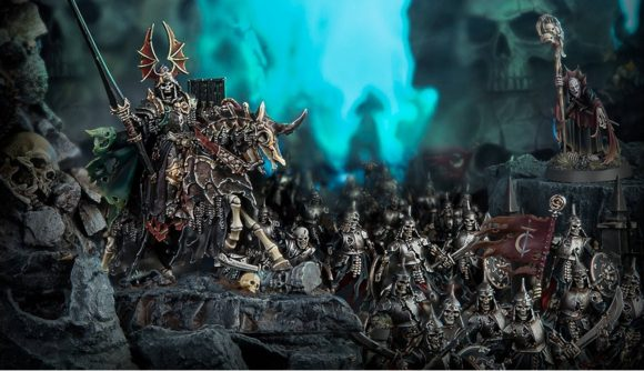 Soulblight Gravelords Cursed City Warcry miniatures arranged on a tabletop