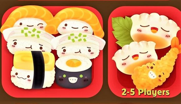 Closeup of the box art for the Sushi Go! card game