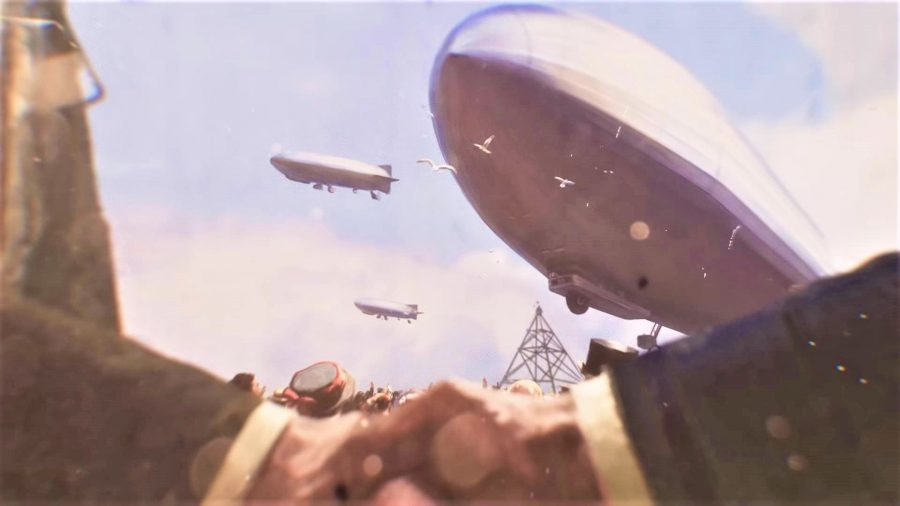 A screenshot from Victoria 3's reveal trailer showing zeppelins
