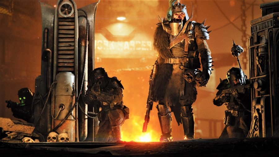 Warhammer 40K Darktide screenshot showing a traitor guardsman leader with a spiked helm