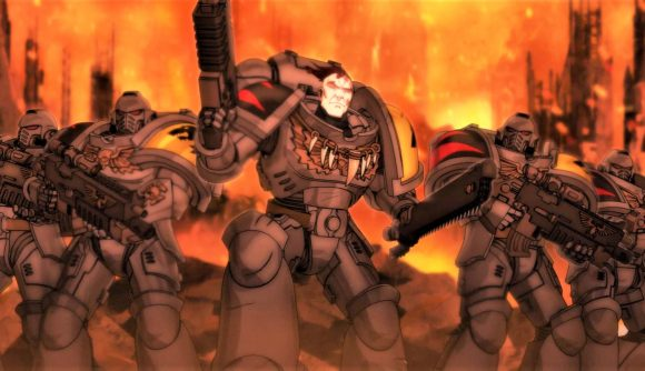 Screenshot from the Warhammer Plus animations trailer showing Space Wolves space marines