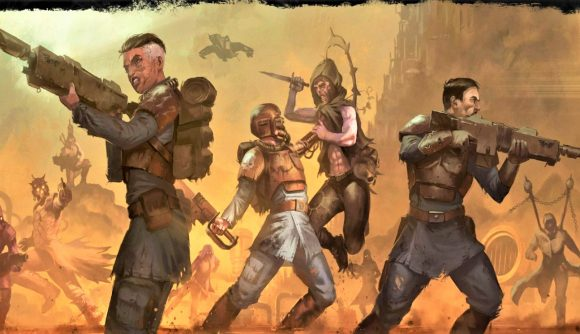 Cover art for the Warhammer 40K Wrath & Glory adventure book The Bloody Gates,. showing guardsmen fighting cultists