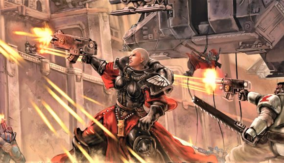 Warhammer 40K RPG Wrath and Glory new adventure On The Wings of Valkyries cover art showing a Sister of Battle