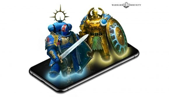 Warhammer Community graphic showing a space marine an a stormcast eternal rising out of a mobile phone screen
