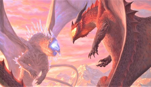 D&D 5E book Fizban's Treasury of Dragons reveal book cover artwork showing two dragons