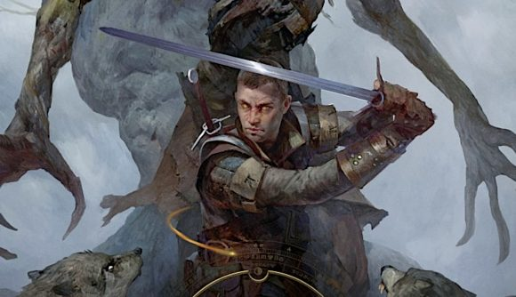 The Witcher: Old World cover art showing a man wielding a sword