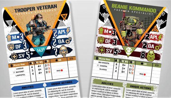 Warhammer 40k kill team 2nd edition custom cards photo showing the Krieg and Ork Kommando faction skins