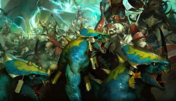 Age of Sigmar Soulbound Seraphon charging forward