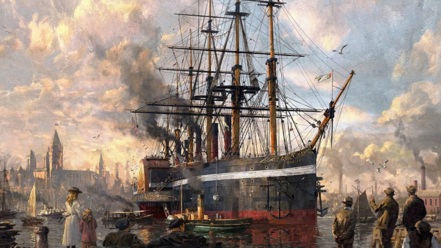 Anno 1800 board game cover art featuring a large sailing ship