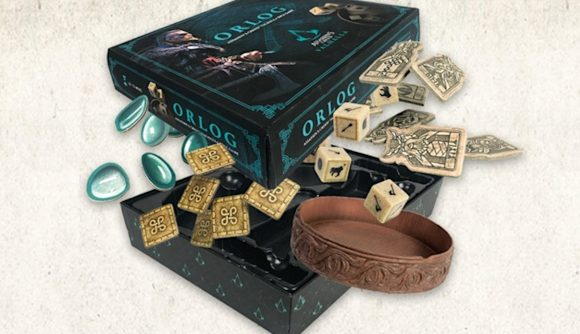 Assassin's Creed Valhalla Orlog dice game box and counters
