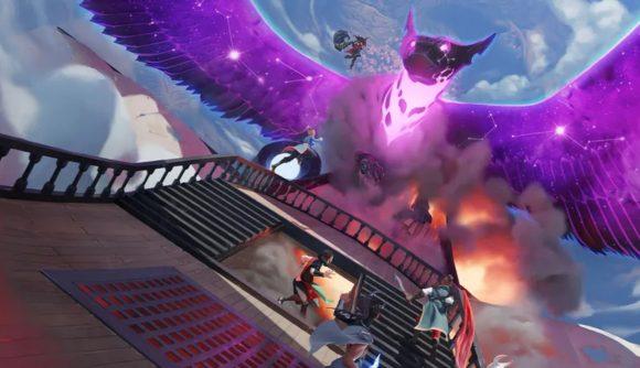 Critical Role Tal'Dorei a purple dragon breathing fire