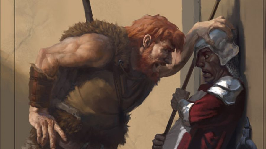 D&D Barbarian 5E class guide Wizards artwork showing a human barbarian intimidating a guard