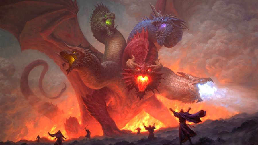 DnD dragons Tiamat, a multi-headed dragon, breathing fire and surrounded by worshippers
