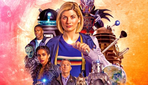Doctor Who roleplaying game second edition pre-order thirteenth doctor surrounded by daleks and cybermen