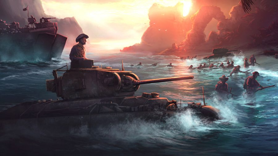 HOI4 console commands a standing on top of tank as it drives onto a beach