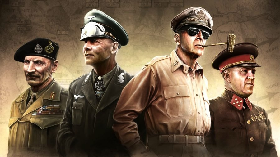 HOI4 country tags famous generals of WW2 standing next to each other