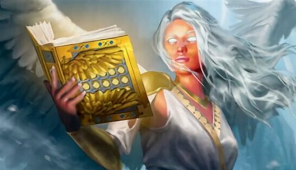 Magic: The Gathering Arena Adventures in the Forgotten Realms banned card an angel holding a book