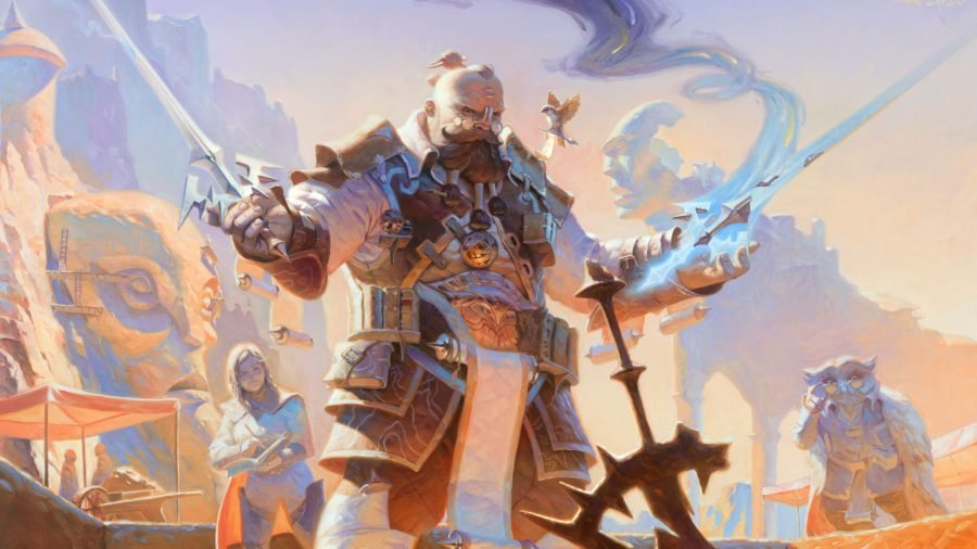 MTG deck builders a human mage conducting a spell