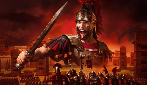 Rome: Total War board game a Roman legionary holding his sword and shouting