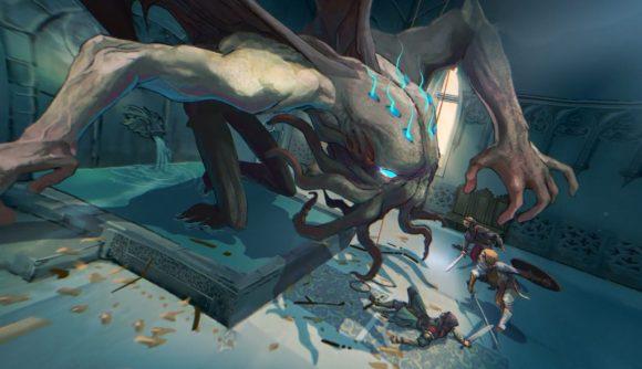 Splendor Soul Raiders reveal a monster lurches towards several warriors