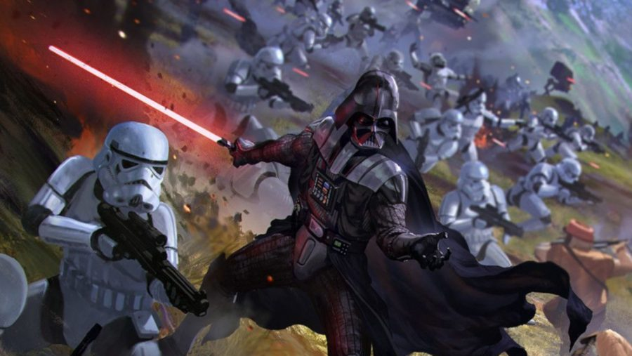 Star Wars board games Darth Vader holding a lightsaber while surrounded by stormtroopers