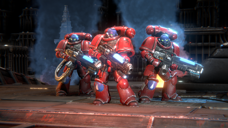 Warhammer 40,000: Battlesector review a group of Space Marine Hellblasters holding their guns, while looking into the distance