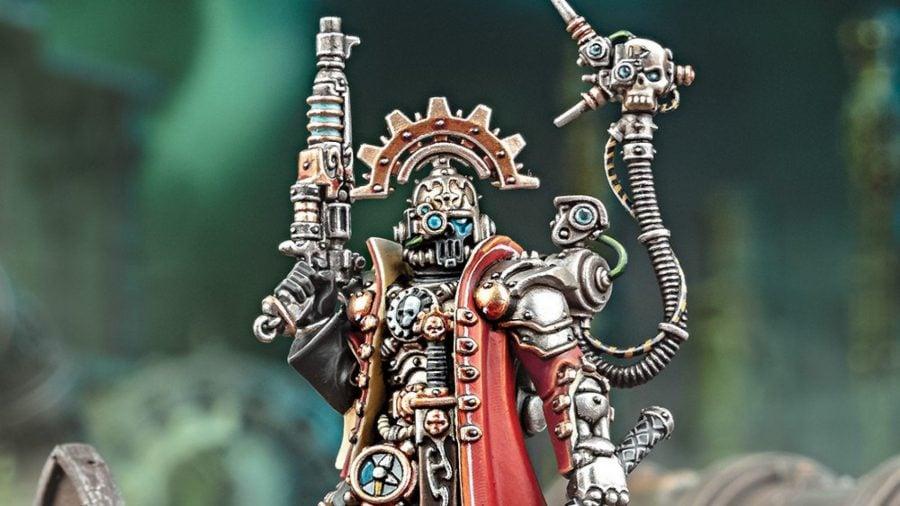 Warhammer 40k Adeptus Mechanicus 9th edition guide warhammer community photo showing the new Skitarii Marshal model