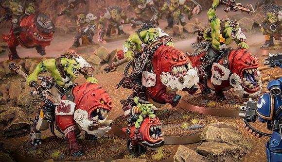 Warhammer 40k Beast Snagga Orks charging squigs into Space Marines