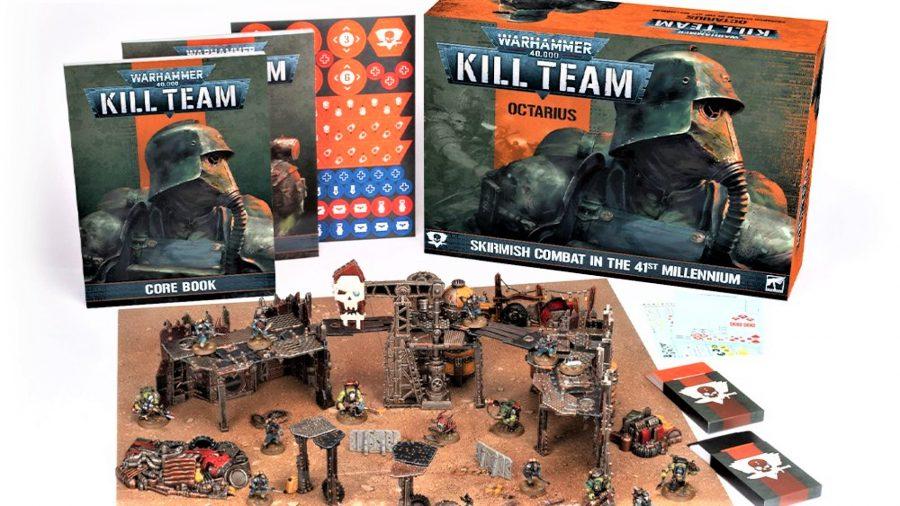 Warhammer 40k Kill Team Octarius box set photo showing the box, books, materials, and miniatures