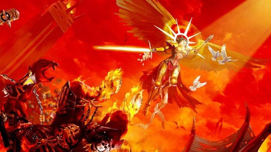 Warhammer 40k Sisters of Battle Adepta Sororitas guide warhammer community artwork showing Celestine casting down a Khorne daemon