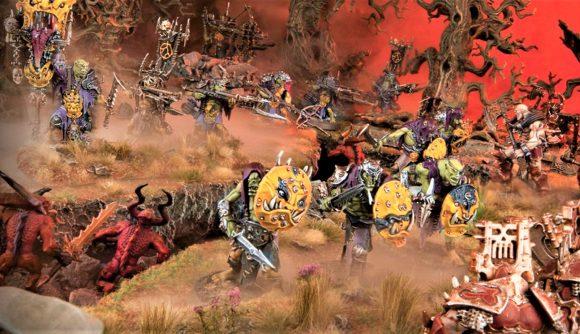 Warhammer Age of Sigmar Kruleboyz Orruk Warclans battletome rules reveal Warhammer Community photo showing Big Yellers Gutrippaz models