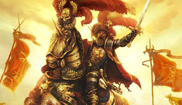 Warhammer Fantasy Old World Elector Counts a knight riding a horse into battle