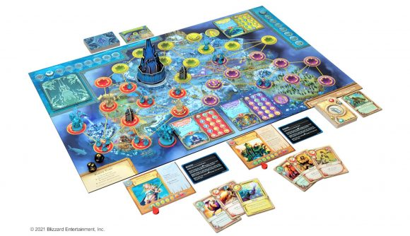 World of Warcraft Pandemic board game pre-order reveal photo showing board, pieces, cards, and Icecrown