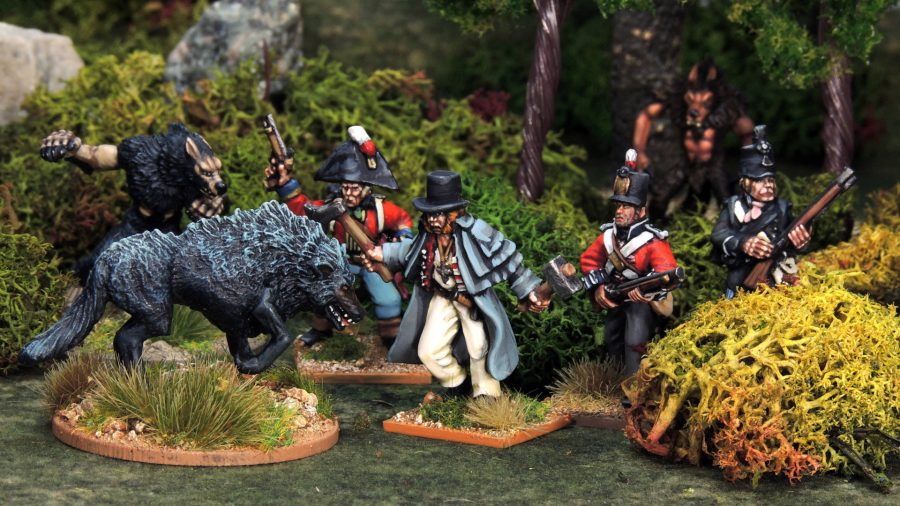 Adventure wargames Osprey Games photo showing miniatures in the Silver Bayonet game