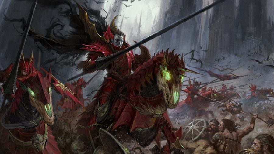 Age of Sigmar Soulblight Gravelords Blood Knight cavalry charging forward