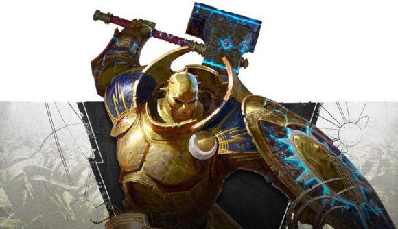 Age of Sigmar Stormcast Eternals gold-plated Annihilator wielding a hammer