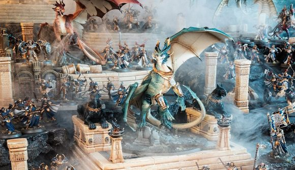 Age of Sigmar Stormcast Eternals Draconith positioned among miniatures and terrain