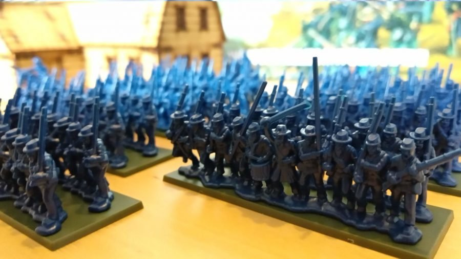 Black Powder American Civil War miniatures lined up in regiments
