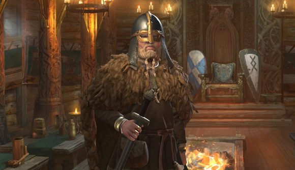 Crusader Kings 3 TTRPG ruler designer a knight wearing a helmet and carrying a sword