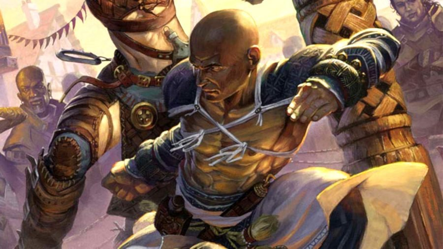 DnD Monk 5E a human about to punch