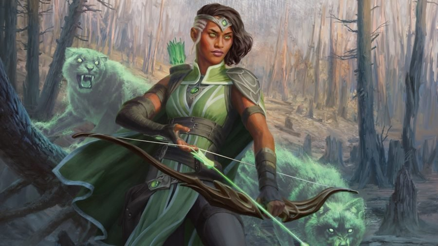 D&D Ranger 5E class guide Wizards artwork showing a human archer with her bow slung low