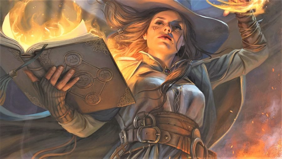 D&D Wizard 5E class guide Wizards artwork showind a female wizard casting from a spellbook