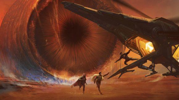 Dune RPG Adventures in the Imperium un ver des sables sur Arrakis pourchassant deux personnes