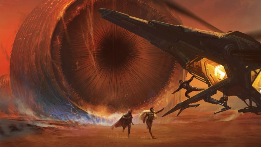 Dune RPG Adventures in the Imperium a sandworm on Arrakis moving towards two fleeing people