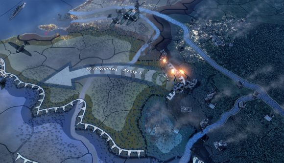 Hearts of Iron 4 DLC soldiers fighting over a border