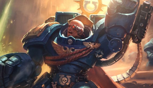Magic the Gathering Warhammer 40k crossover a Space Marine captain raising his fist while shouting