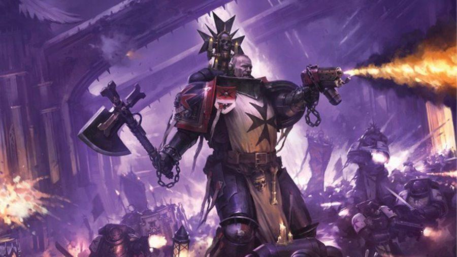 Warhammer 40k Black Templars launch box codex artwork showing a Space Marine firing a flamer