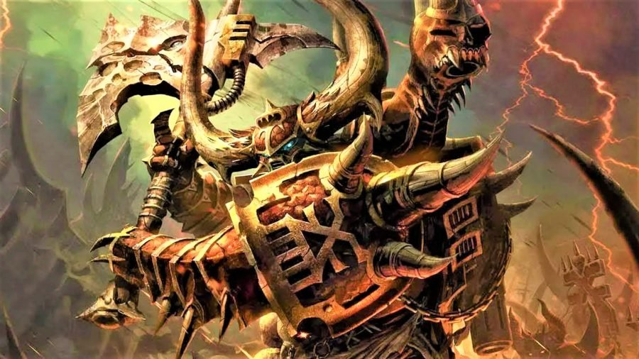 Warhammer 40k Chaos Space Marines faction guide Warhammer Community artwork showing a chaos space marine swinging an axe